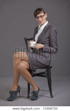 Business Woman With Cup Coffee