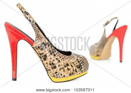 Snake Leather Yellow And Orange Peep Toe Sling Back Pumps, Isolated On White Background