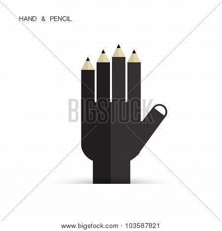 Creative Pencil And Hand Icon Abstract Logo Design Vector Template. Corporate Business Creative Logo