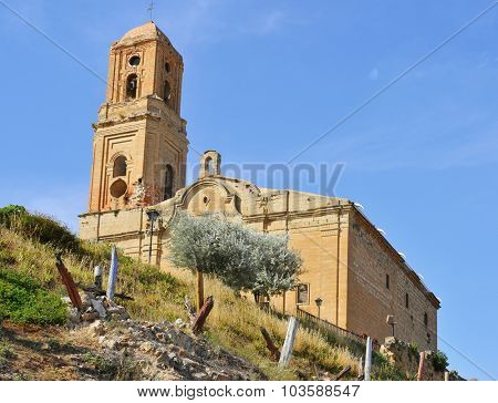 view of the Sant Pere Church in Poble Vell de Corbera de Ebro, in Spain, seriously damaged during the Spanish Civil War (1936-1939)