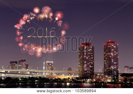 2016 New Year Fireworks Celebrating Over Tokyo Cityscape