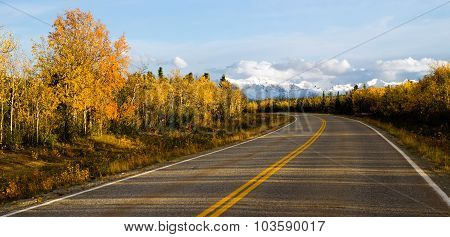 Highway Leads Through Peaks Alaska Range Fall Autumn Season