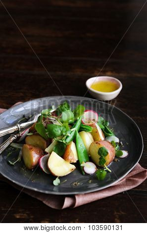 Fresh healthy potato salad with peas, green shoots, radish and mustard dressing. styled by food stylist with plenty of copy space