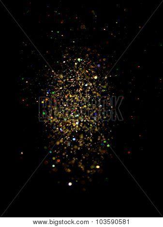 glitter vintage lights background. dark gold and black. defocused. Christmas card