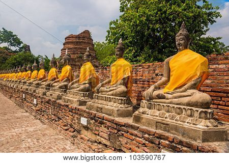 Buddha Chedis At Ayuthaya