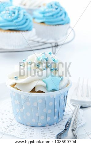 Beautiful delicious cupcakes with blue, white and silver theme