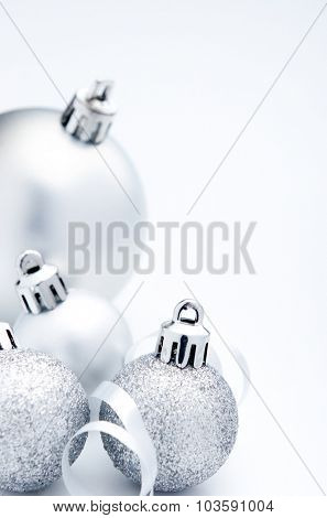 Silver christmas festive decoration bauble with copy space