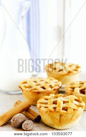Farmstyle inspired lattice fruit pies presented on a wooden chair with a jug of milk