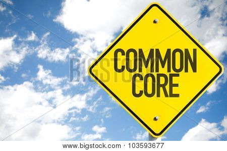 Common Core sign with sky background