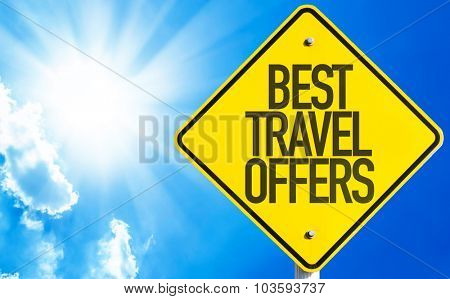 Best Travel Offers sign with sky background