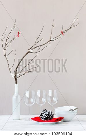 Christmas decoration table display, simple elegant modern minimalist ornaments
