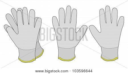Pair of white fabric working gloves