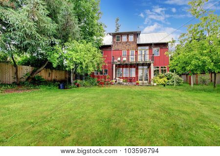 Briliant Red House With Large Back Yard.