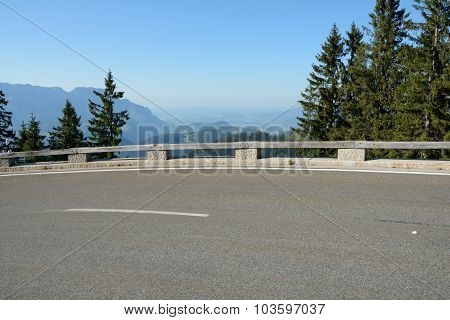 Tarmac And Barrier On Road In Alps In Germany