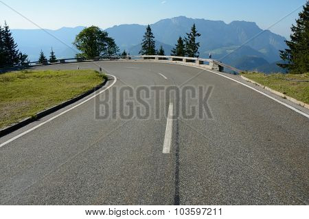 Sharp Turn On Road In Alps In Germany