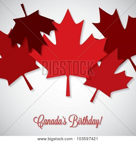 Overlay Leaf Canada Day Card In Vector Format.