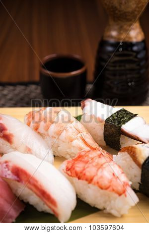 Fresh Nigiri Sushi In A Plate In A Japanese Restaurant