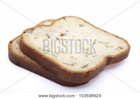 Sliced bread over white background.
