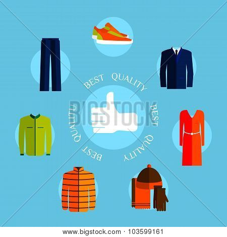Best quality clothes. Flat style design quality control concepts with thumb up label and clothes.