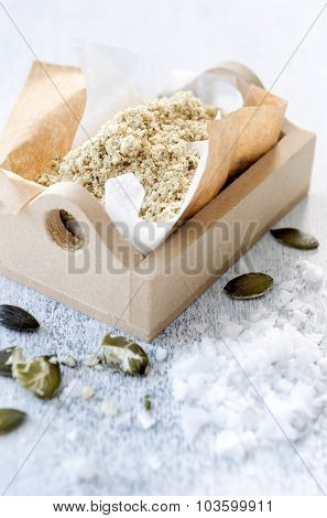 Salt flakes with nuts and pumpkin seeds as a salad topping, food sprinkle or garnish