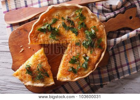 French Quiche Lorraine Close-up On The Table. Horizontal Top View