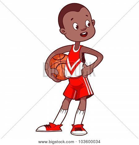Cheerful Child With The Ball. Cartoon Vector Illustration
