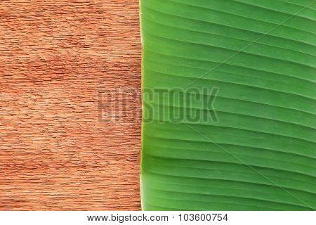 Banana Leaf On The Wooden Board