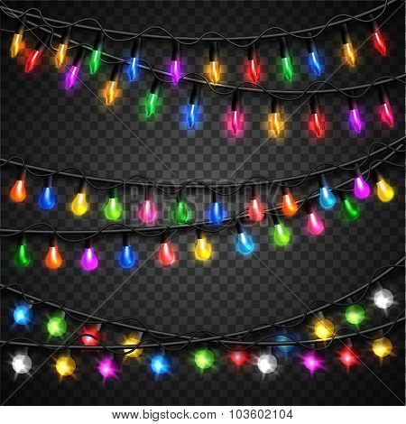 Colorful christmas transparent light bulbs collection for celebratory design. Shining Christmas back