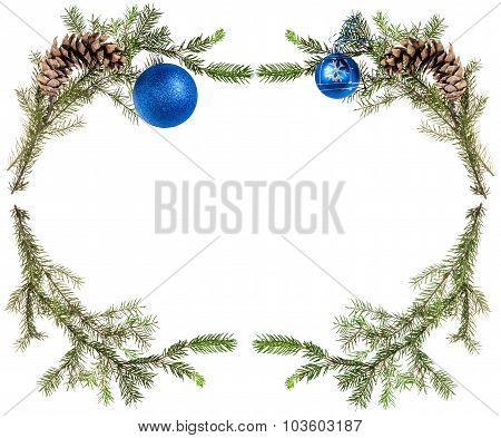 Fir Tree Twigs With Cones And Blue Balls On White
