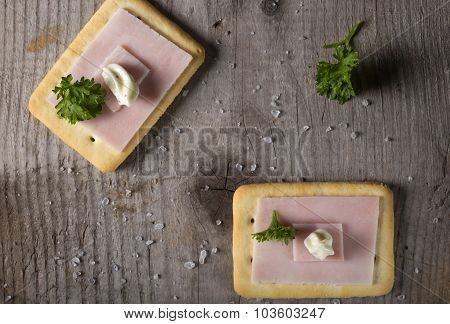 Crackers With Ham And Roumulade Sauce