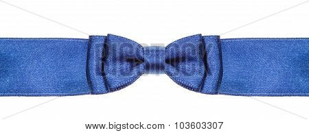 Symmetrical Blue Bow Knot On Wide Satin Ribbon