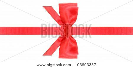 Red Bow With Vertically Cut End On Narrow Band