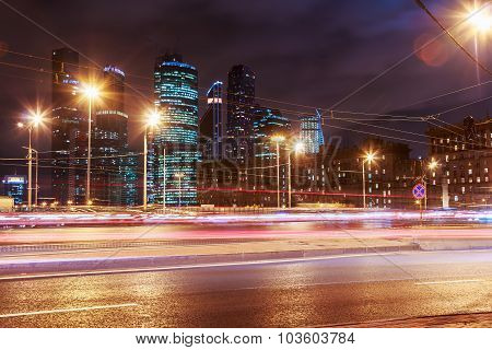Night Traffic And Skyscrapers Moscow International Business Center Moscow-city