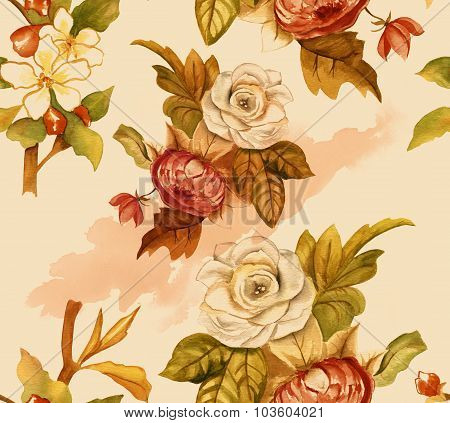 Vintage-styled watercolour roses seamless background pattern, toned