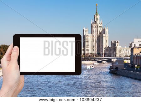 Tablet Pc With Cut Out Screen And Moscow Vysotka