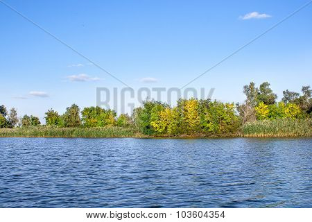 Landscape Image Of A Large River Shore Vegetation