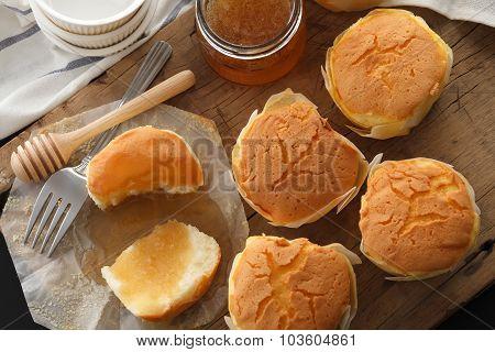 Honey Soft Cheese Cake Sweet Pastries Dessert Yummy Still Life Closeup