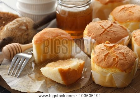 Honey Soft Cheese Cake Sweet Pastries Dessert Yummy Still Life Closeup