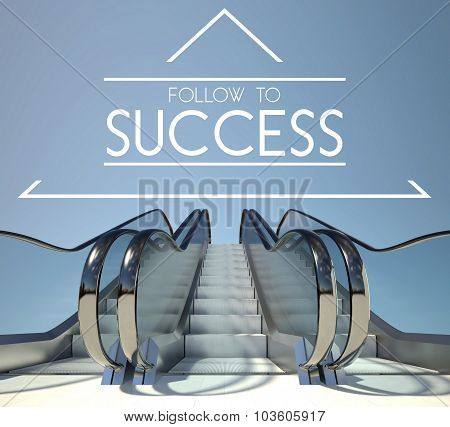 Follow To Success Concept With Stairway