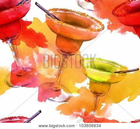 Seamless watercolor background pattern of bright Margarita cocktails of different tastes