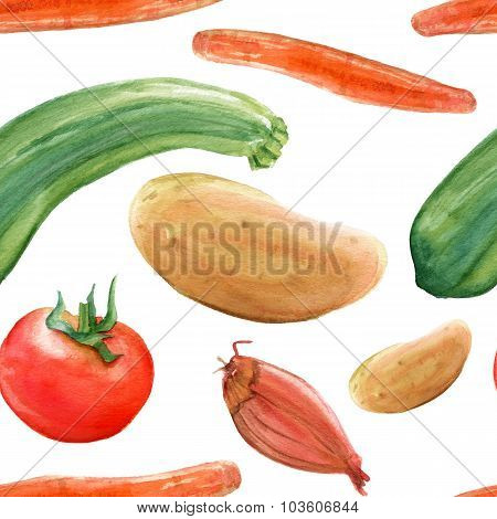 A seamless watercolor background pattern with rustic vegetable drawings