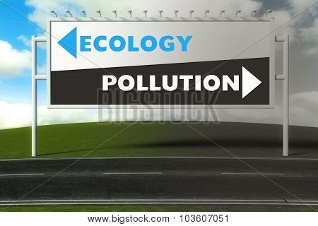 Conceptual Direction Signs Lead To Ecology Or Pollution