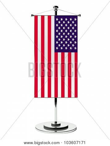3D Usa Table Flag Isolated White