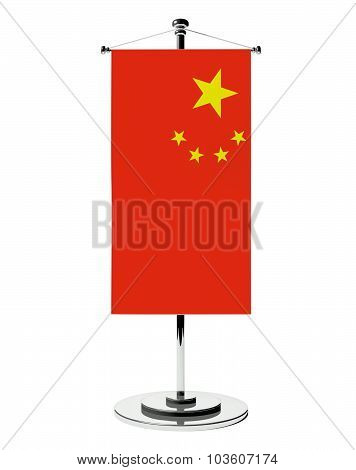 3D Chinese Table Flag Isolated White