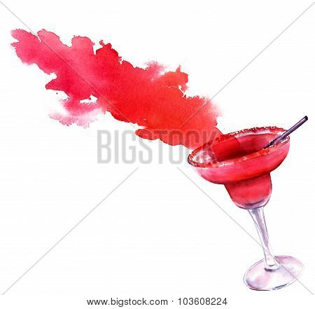 Watercolour drawing of a strawberry Margarita cocktail with a splash on white background
