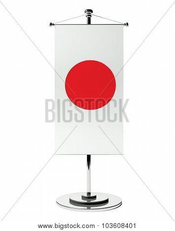 3D Japanese Table Flag Isolated White