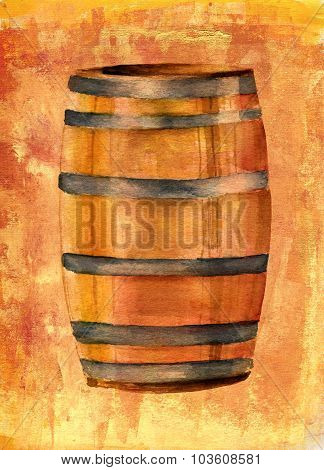 A watercolor drawing of a wine barrel on a golden artistic background