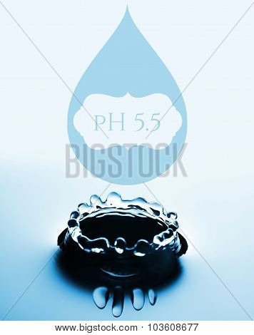 Ph Concept With Water Drop And Splash