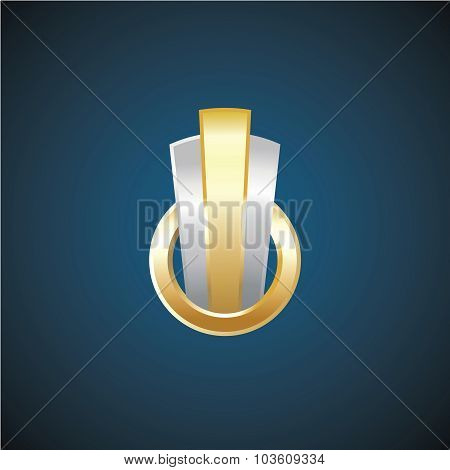 Real Estate Golden And Silver Logo Template. Construction Sign.