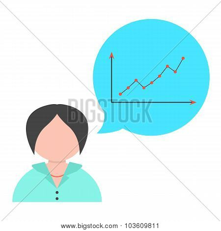 business woman with speech bubble and graph